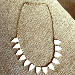 J Crew Summery white and gold statement necklace
